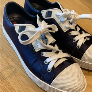 PRADA SATIN NAVY SNEAKERS
